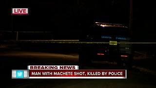 Man with machete shot , killed by police - Video