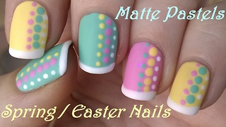 Pastel matte nail art with French manicure idea - Video