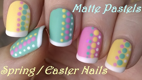 Pastel matte nail art with French manicure idea