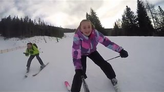 GoPro Footage Shows Wonderful Father and Daughter Skiing Holiday - Video