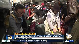 Evacuees arrive at airport, react to release from quarantine