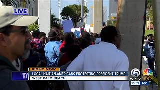 Haitian community gathers in Palm Beach County to protest President Trump - Video
