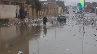 Flooded Roads and Floating Trash Follow Heavy Rain in Mosul - Video