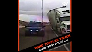 High Winds Topple Truck