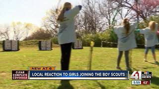 KC troops react to girls in Boy Scouts - Video