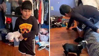 Heartwarming Footage Shows Adorable Moment Dad Gives Puppy To Autistic Son