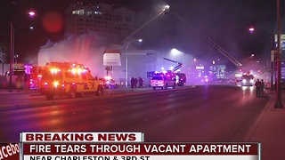 Vacant apartment building catches fire near downtown Las Vegas - Video