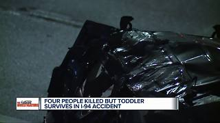 Four people killed but toddler survives in I-94 accident - Video