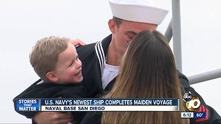 Navy ship arrives in San Diego for first time - Video