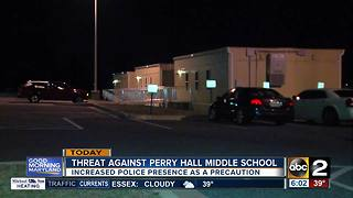 Police increase presence at Perry Hall Middle School after social media threat - Video
