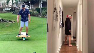 Golfer performs amazing trick shots that you'll never fore-get