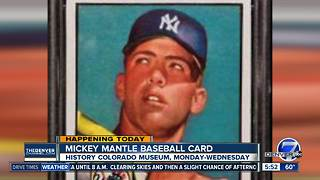 Mickey Mantle baseball card on display