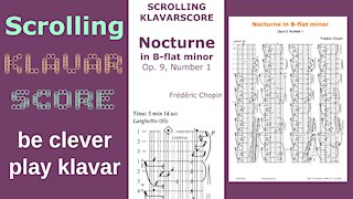 Nocturne in B-flat minor by Frederick Chopin, with fingering. Scrolling KlavarScore Sheet Music
