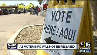 Arizona voter info will not be released amid White House probe