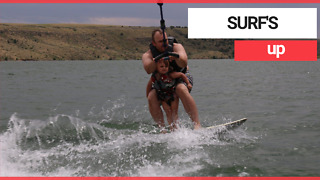 Five-year-old with Brittle Bone Disease goes wakeboarding with dad - Video