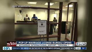 Pop-up marriage license bureau opens at airport - Video