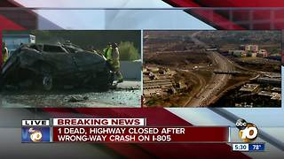2 dead, highway closed after wrong-way crash on I-805 - Video