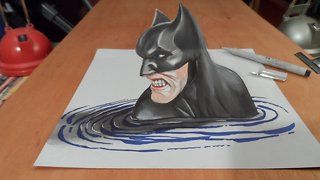How I Draw a 3D Batman, Trick Art by Vamos - Video