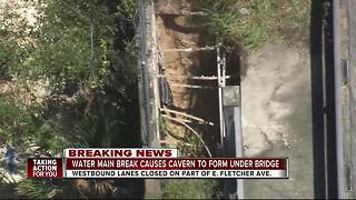 Water main break forms cavern on Fletcher bridge - Video