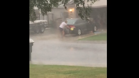Catching your neighbor wash their car during the hurricane