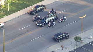 Lt. Aaron Allan procession to funeral - Video