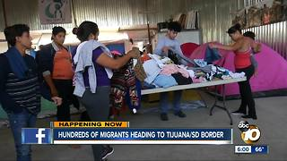 Hundreds of migrants heading to Tijuana/ San Diego border - Video