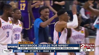 """Russell Westbrook's 20-20-20 performance """"For Nipsey"""" - tribute to slain rapper and friend Nipsey Hussle"""