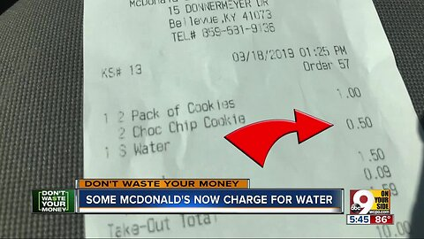 Some McDonald's now charge for water