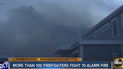 More than 100 firefighters battled a 10-alarm fire in the Boston area
