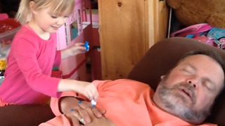 Cute Girl Puts Nail Polish On Her Dad's Fingers - Video