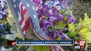 Roadside memorials repeatedly damaged