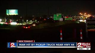 Pedestrian hit by pickup truck along highway 44 - Video