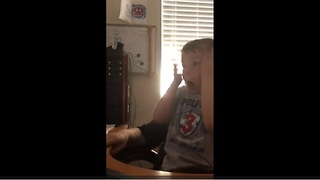 Kid pranked by dad with classic pop-up scare video - Video