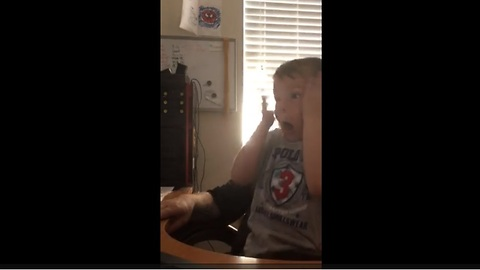 Kid pranked by dad with classic pop-up scare video