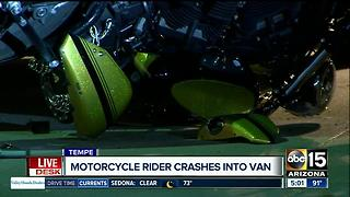 Motorcyclist crashes into van in Tempe - Video