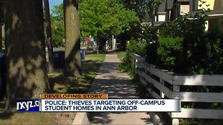 Police: Thieves targeting off-campus student homes in Ann Arbor - Video