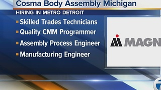 Magna's Cosma Body Assembly Michigan is holding a job fair on Jan. 7, 2017 - Video