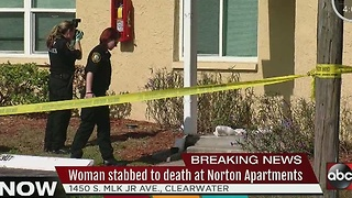 Woman stabbed to death at Norton Apartments - Video