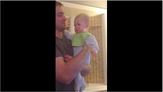 Baby instantly cries when dad sings Disney song