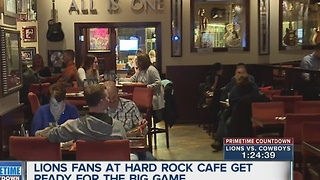 Lions fans at Hard Rock ready for tonight's game - Video