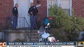 Man dead, woman stabbed inside Catonsville home