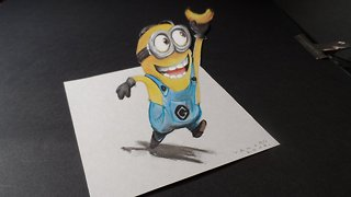 Drawing a 3D Minion and banana - Video