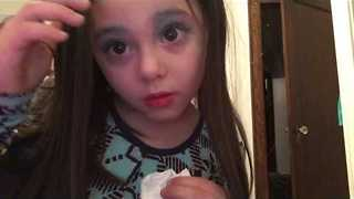 4-Year-Old Girl Gives First Makeup Tutorial - Video