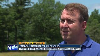 Garbage piled high at Euclid apartment building, dumpsters infested by rats - Video
