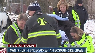 Man arrested, injured after chase on Indy's south side. - Video