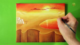 Acrylic Painting - Beautiful Sunset - Sunrise - Desert - Step by Step
