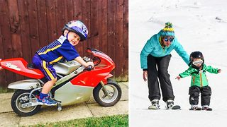 Three year old adrenaline junkie masters extreme sports thanks to active parents - Video