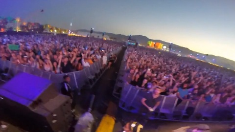 Fan's GoPro ends up in musician's hands during performance at Coachella