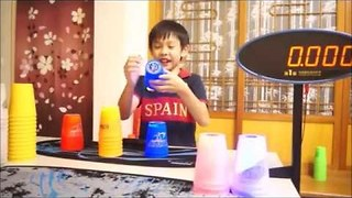 Eight-year-old Speed Stacker Practices His Incredible Skills - Video