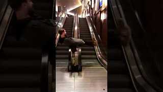 Man Finds an Innovative Use for Parallel Escalators
